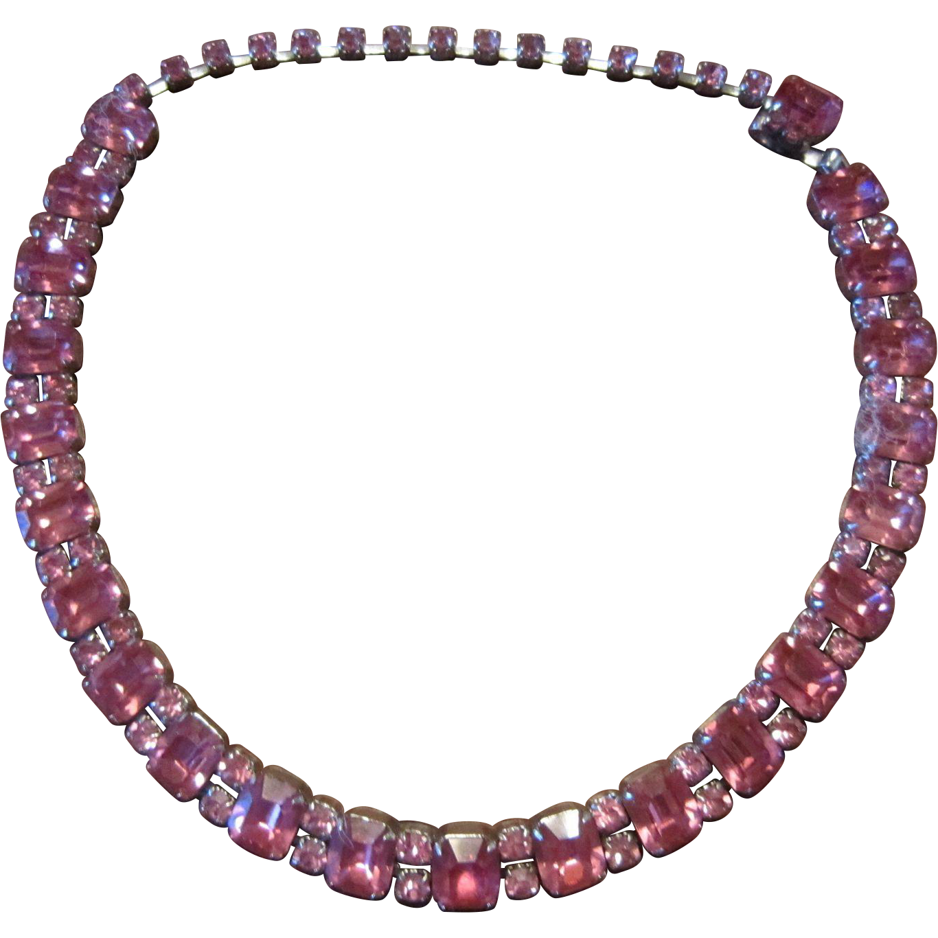 Fenichel Pink Emerald Shape alternating with 2 Round Shape Necklace