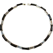 Old Mexican Sterling and Onyx Link Necklace