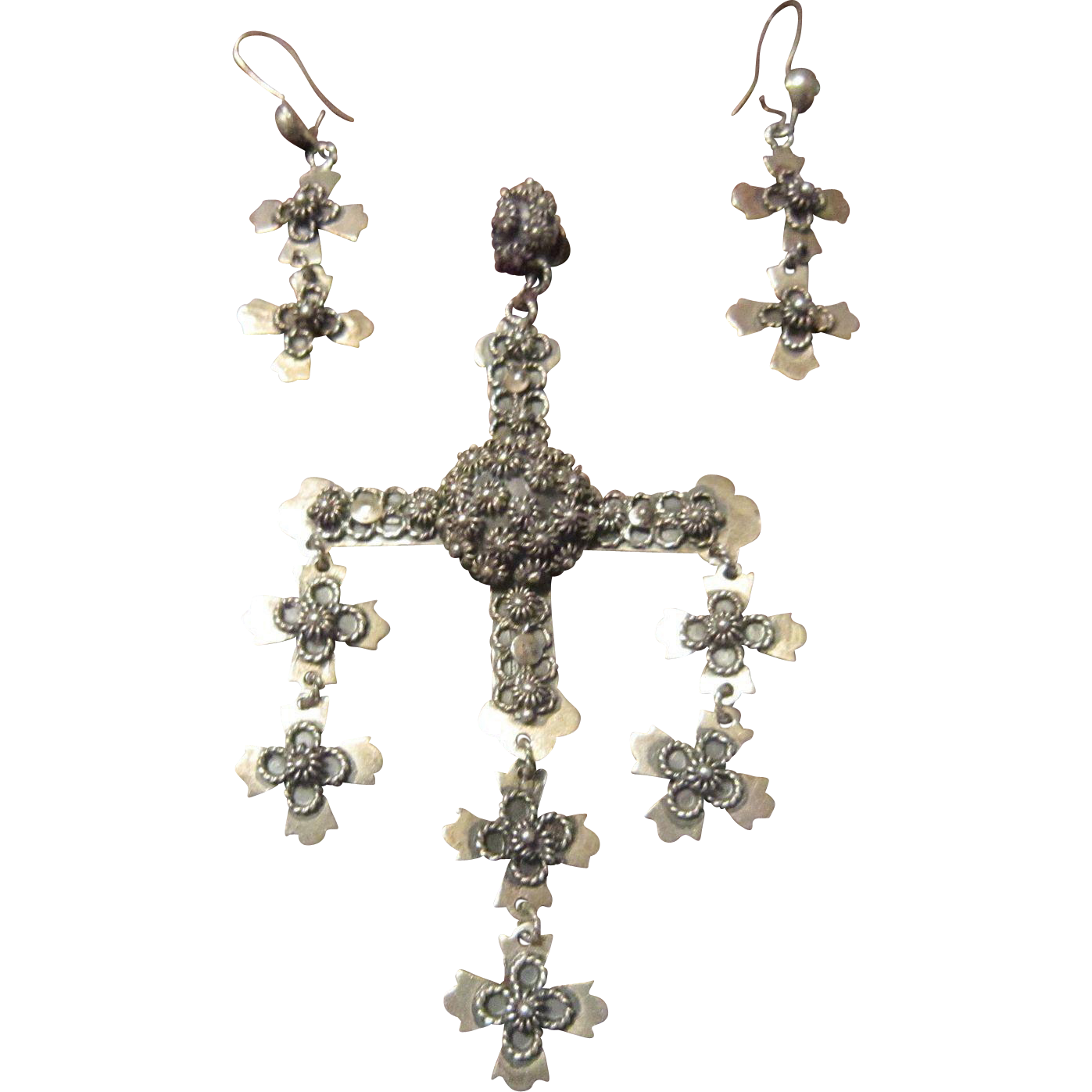 Taxco, Mexico Old Sterling Yalalag Cross Necklace and Earrings