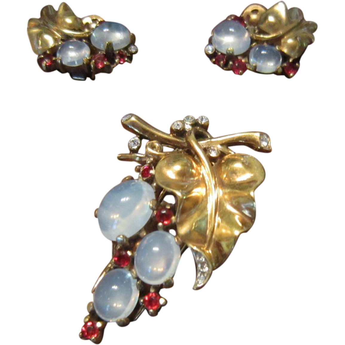 Crown Trifari Vermeil Sterling Leaf Brooch and Earrings with Faux Moonstone and Rhinestones - 1945