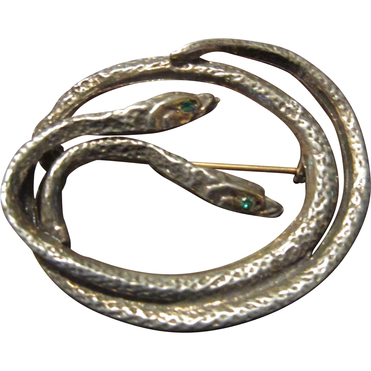 Silver Plated Double Snakes Brooch