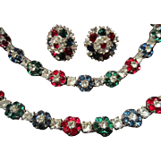 Crown Trifari Set with Rhinestone Flowers in Green, Blue and Red Flowers and Clear Stones in Each Center