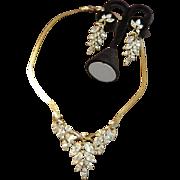 Kunio Matsumoto for Trifari Rhinestone Wisteria Necklace and  Dangle Earrings
