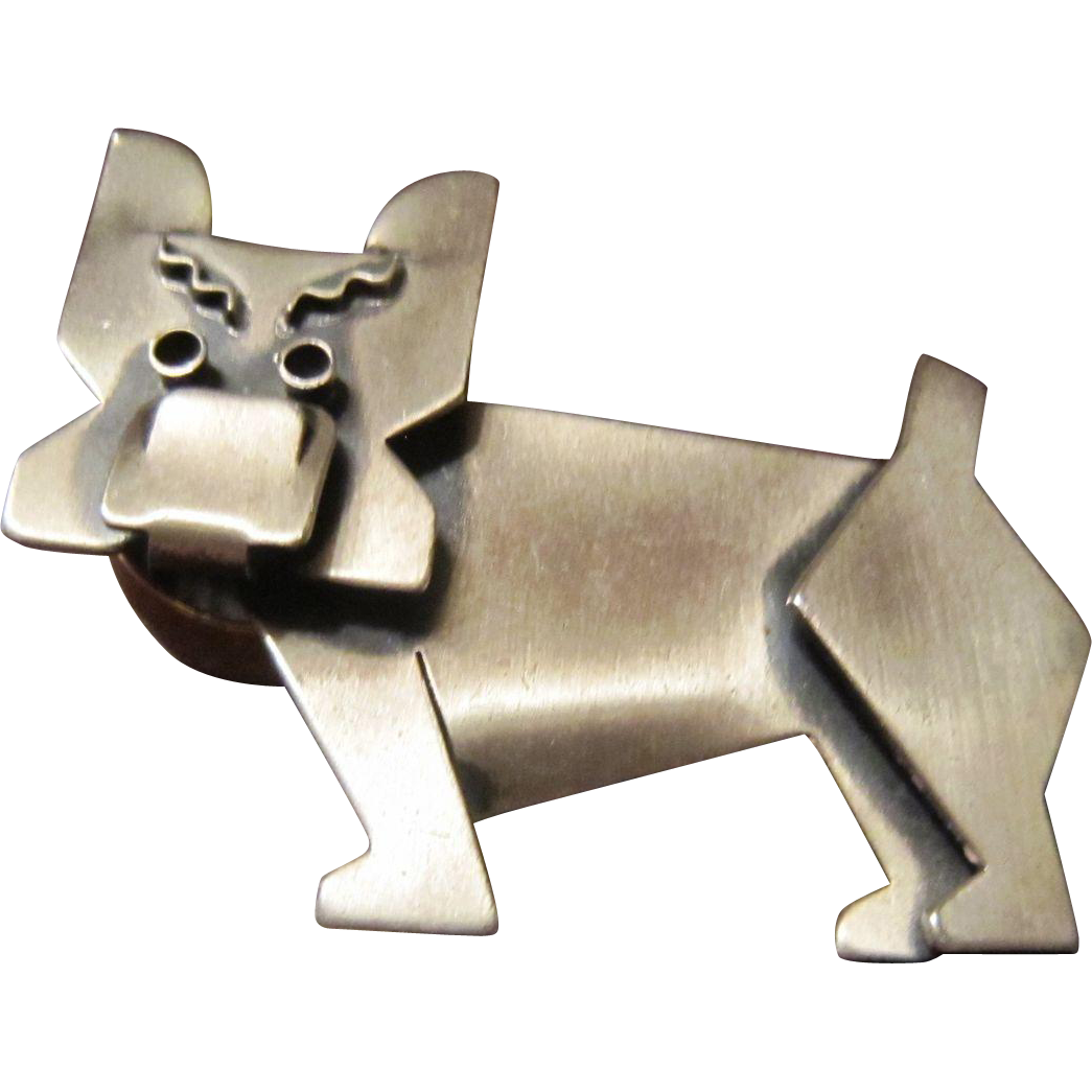 Beau Brushed Sterling Bull Dog Brooch