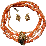 Kenneth Jay Lane for Avon Lucite Pinks and Red/Orange Faux Corals Necklace