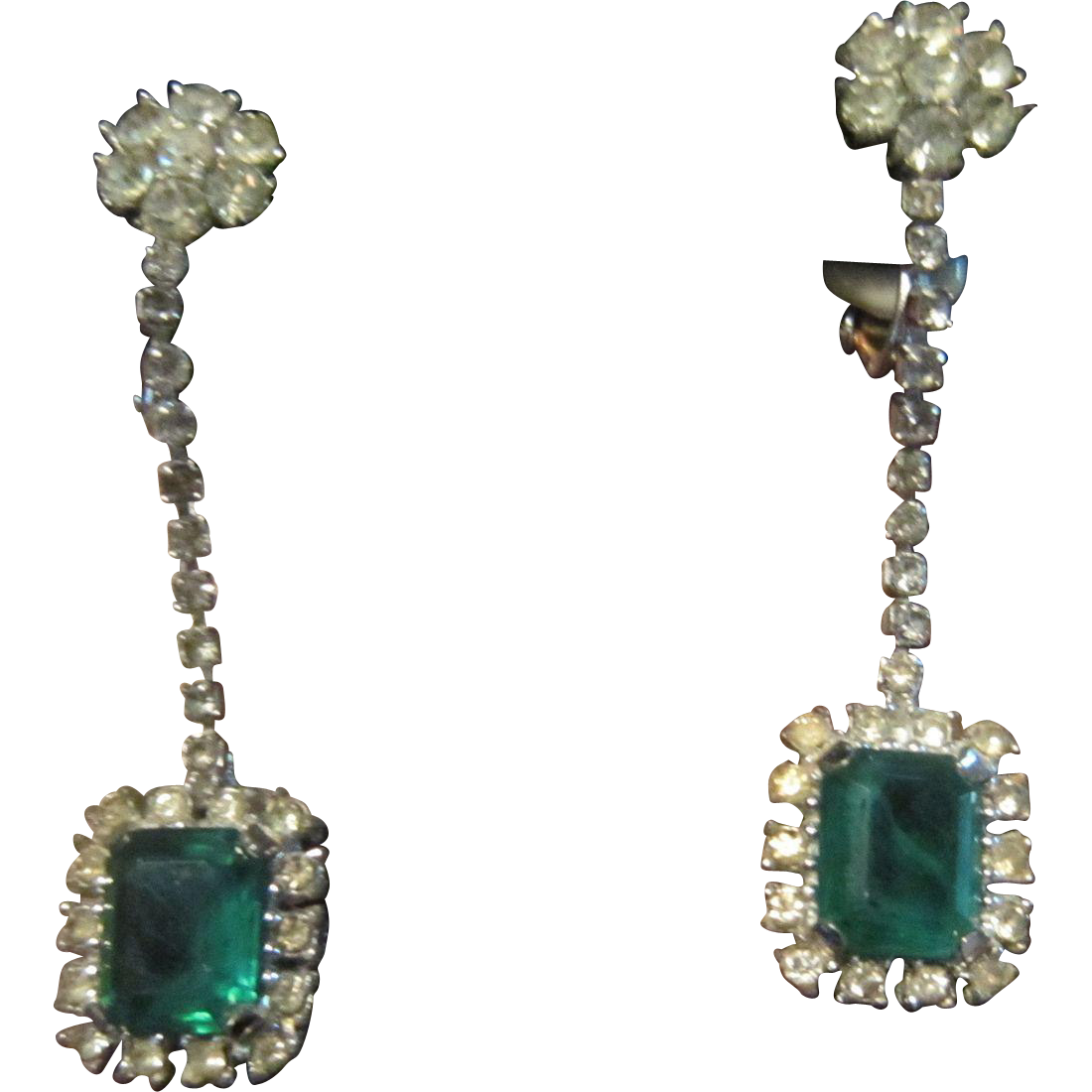 Ciner Dangling Clear and Emerald Green Rhinestones