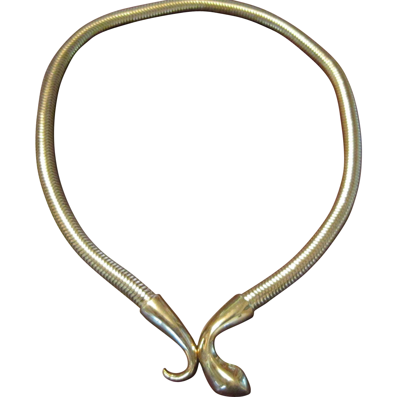 Crown Trifari Snake Necklace with Snake and Tail