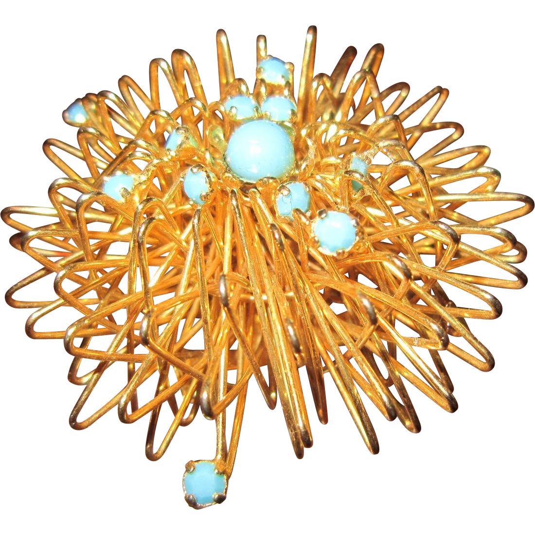 Atomic Brooch with Gold Tone Wire and Faux Turquoise