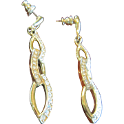 Trifari Dangling Earrings in Gold Tone and Clear Rhinestones