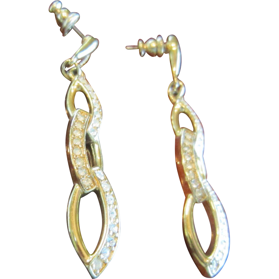 Trifari Dangling Earrings in Gold Tone and Clear Rhinestones
