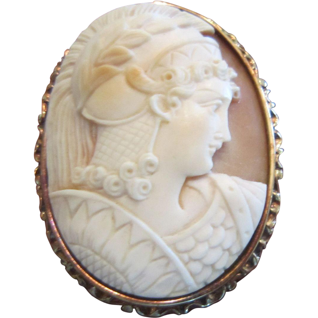 Cameo of Achilles on Bull Mouth Shell with 14 K Gold Mount