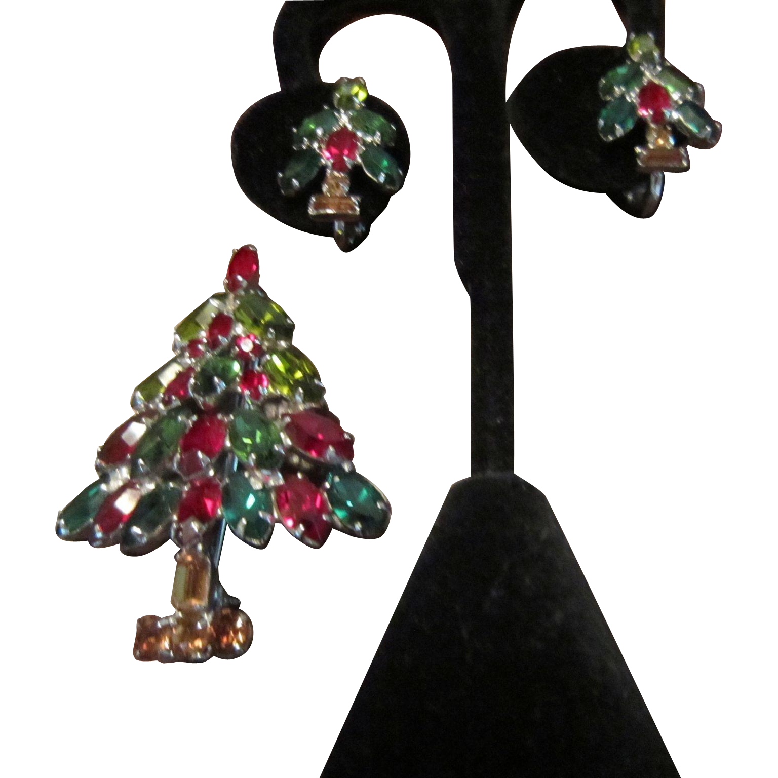 Napier Rhinestones Christmas Tree Brooch and Matching Earrings