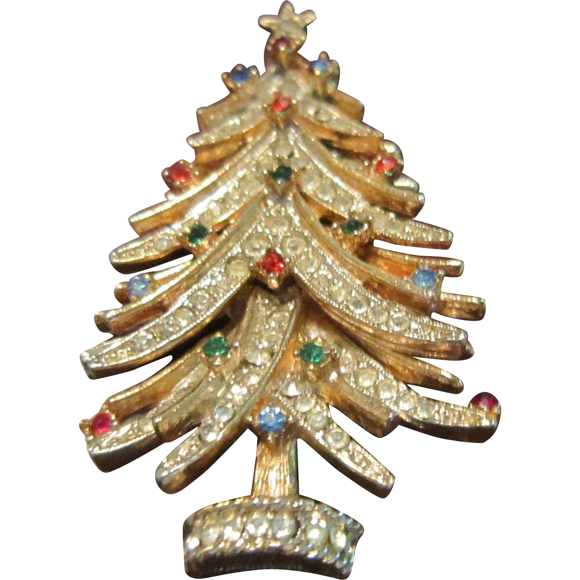 ART(C) Christmas Tree Brooch of Clear Rhinestone Boughs