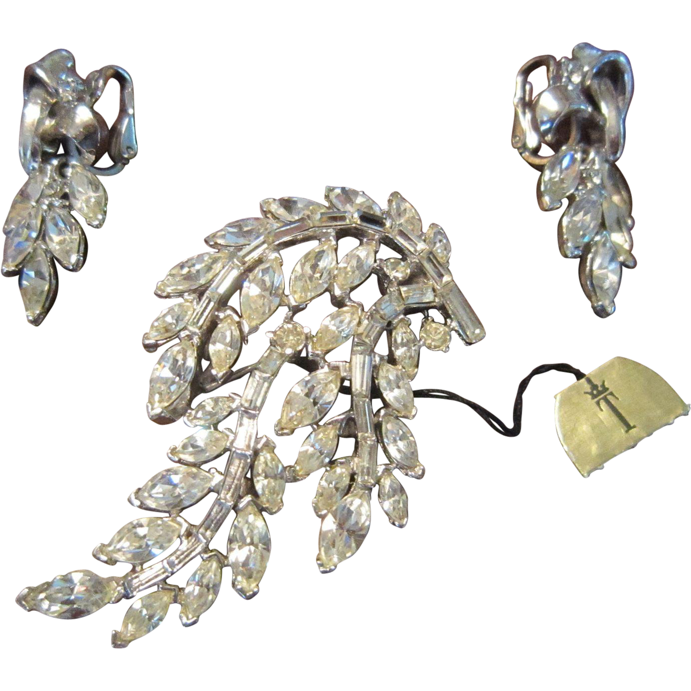Trifari Boughs Clear Rhinestones and Silver Tone Brooch and Matching Earrings