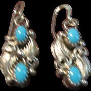 Robert Brown, Navajo, Sterling and Turquoise Earrings