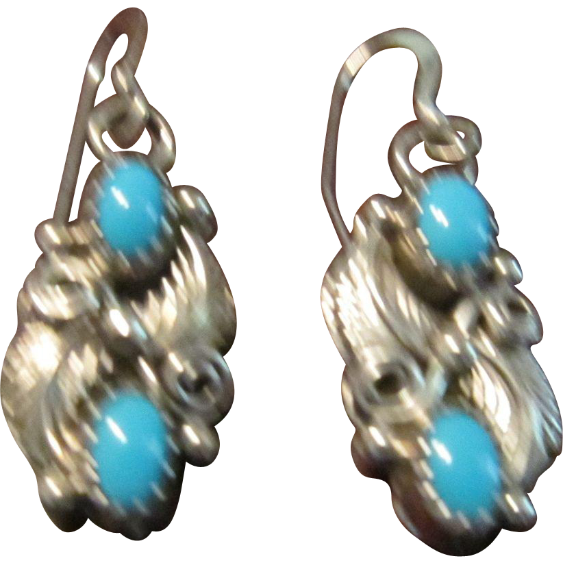Robert Brown, Navajo, Sterling and Turquoise Earrings