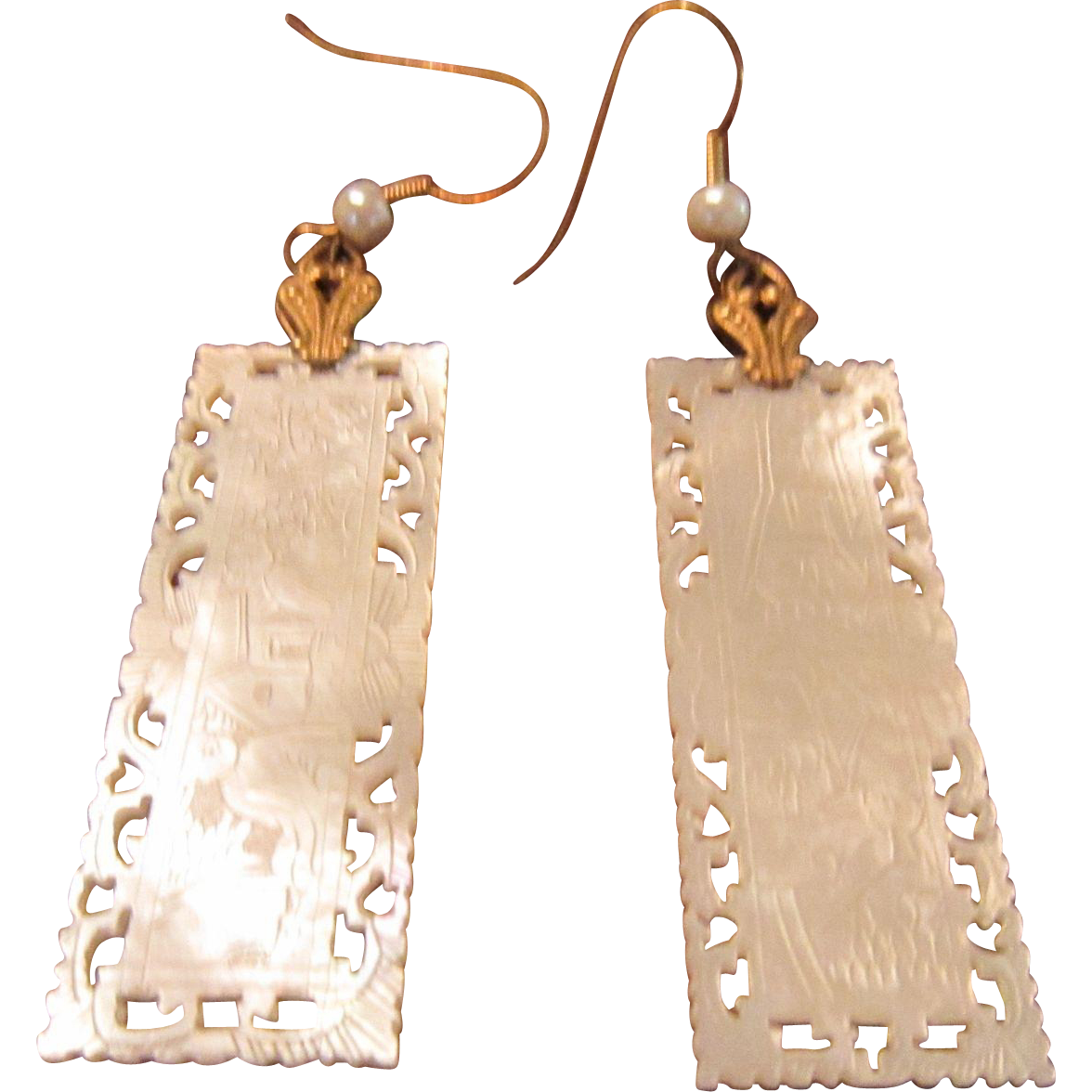 Chinese Mother of Pearl Game Chips with Gold Tone Bail and Shepherd Hooks