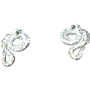 Snake Earrings with Clear Rhinestones and Silver Tone Metal - Pierced