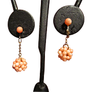 Pale Pink Coral Dangle Earrings