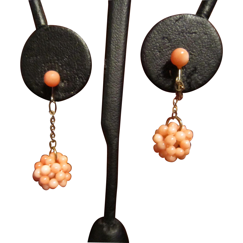 Pale Pink Coral Dangle Earrings