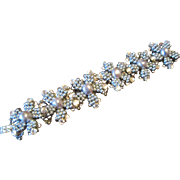 Vrba Flower Bracelet with Silver Tone Beads and Sparkling Clear Rhinestones