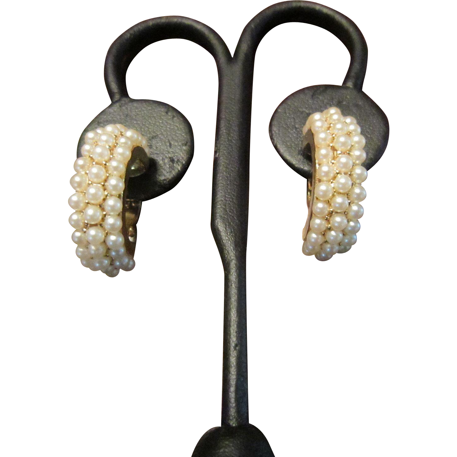 Faux Pearl and Gold Tone Earrings