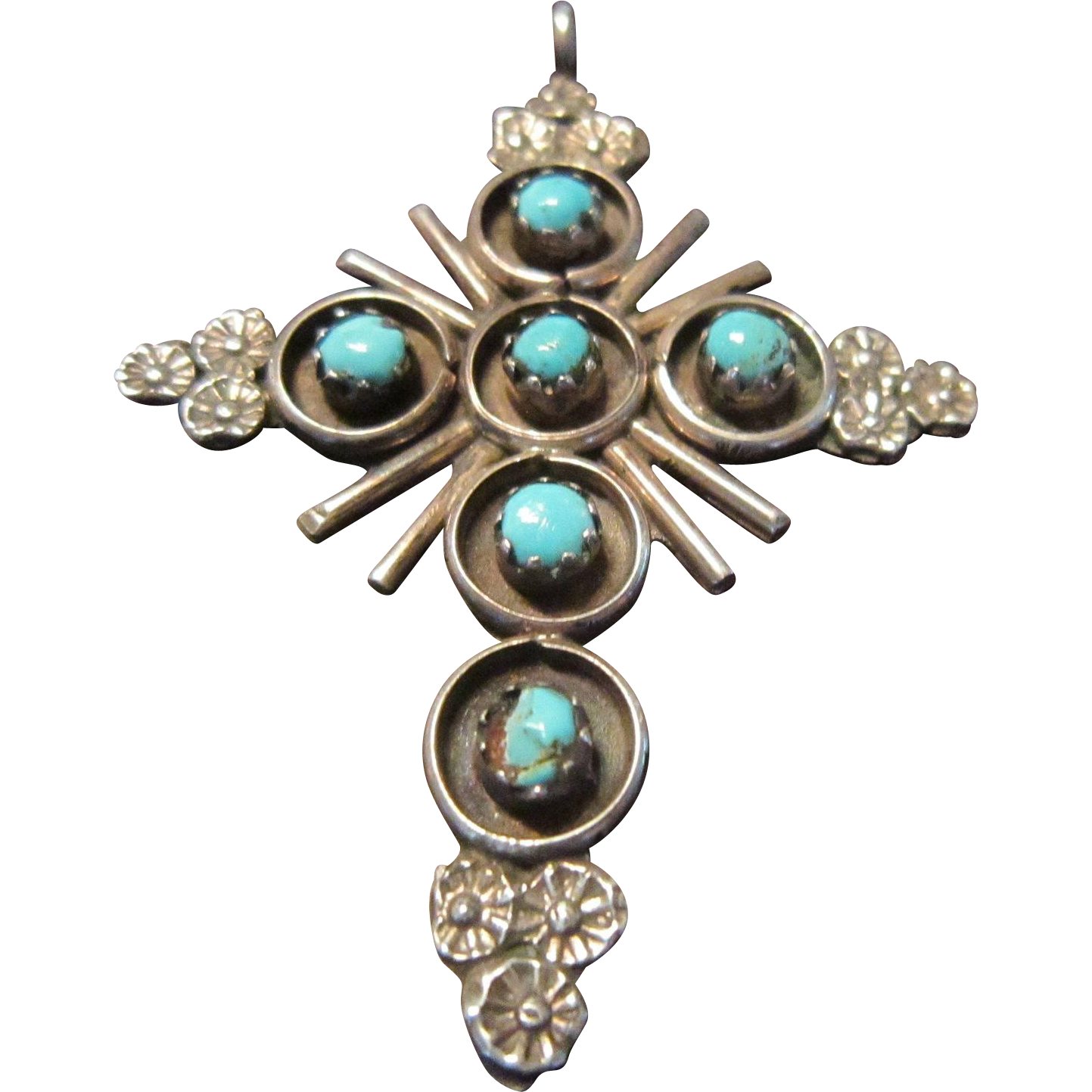Navajo Sterling and Turquoise Pendant Cross