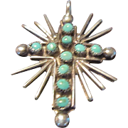 Zuni Turquoise and Sterling Pendant Cross