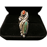 Native American Sterling Ring with Turquoise and Coral