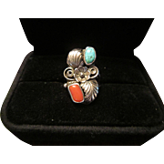 Navajo L Elthe Sterling Ring with Turquoise and Coral
