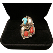 Navajo S A Arviso Sterling Ring  with Turquoise, and Coral