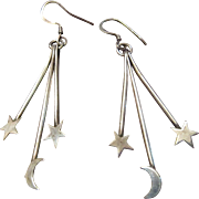 Sterling Dangling Earrings with 2 Stars and a Moon