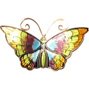 David Andersen Sterling and Enamel Butterfly Brooch