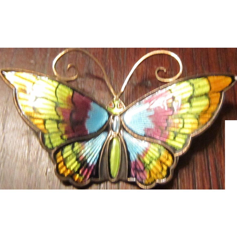 David Andersen Sterling and Enamel Butterfly Brooch