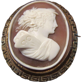 A Shell Cameo of Psyche with a Greek Key Pinchbeck Surround
