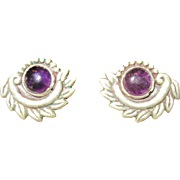 Taxco Bernice Goodspeed Sterling and Amethyst Earrings