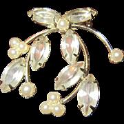 Trifari Mistletoe Brooch with Clear Rhinestones, Faux Pearls and Silver Tone Metal