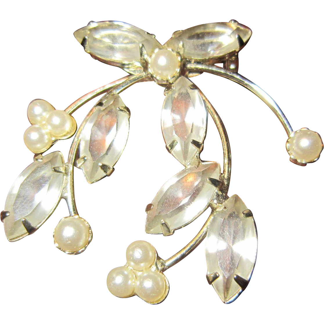 Trifari Mistletoe Brooch with Clear Rhinestones, Faux Pearls and Silver Tone Metal