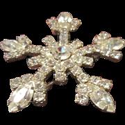 Coto Brilliant Clear Rhinestone Snowflake Brooch with Silver Tone Base