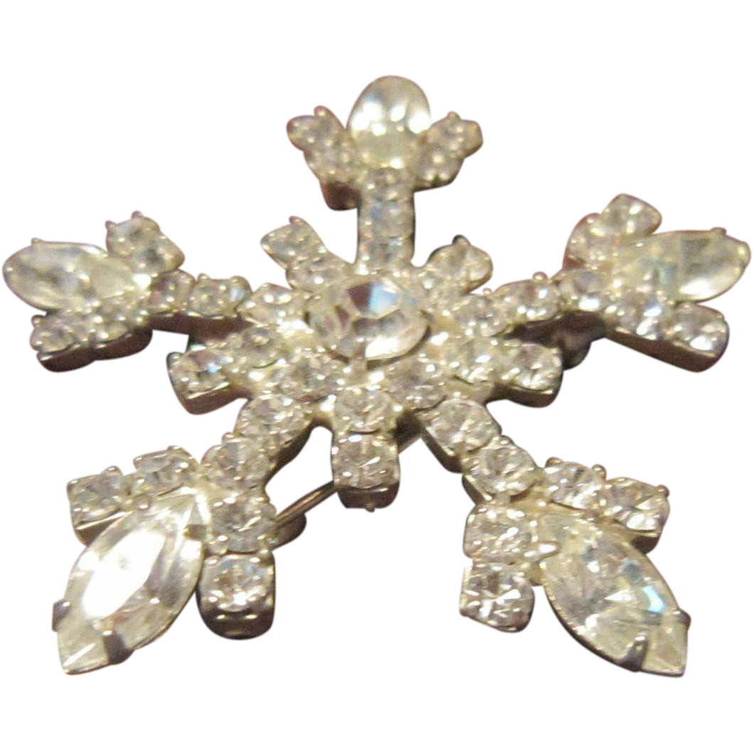 Coto Brilliant Clear Rhinestone Snowflake Brooch with Silver Tone Base