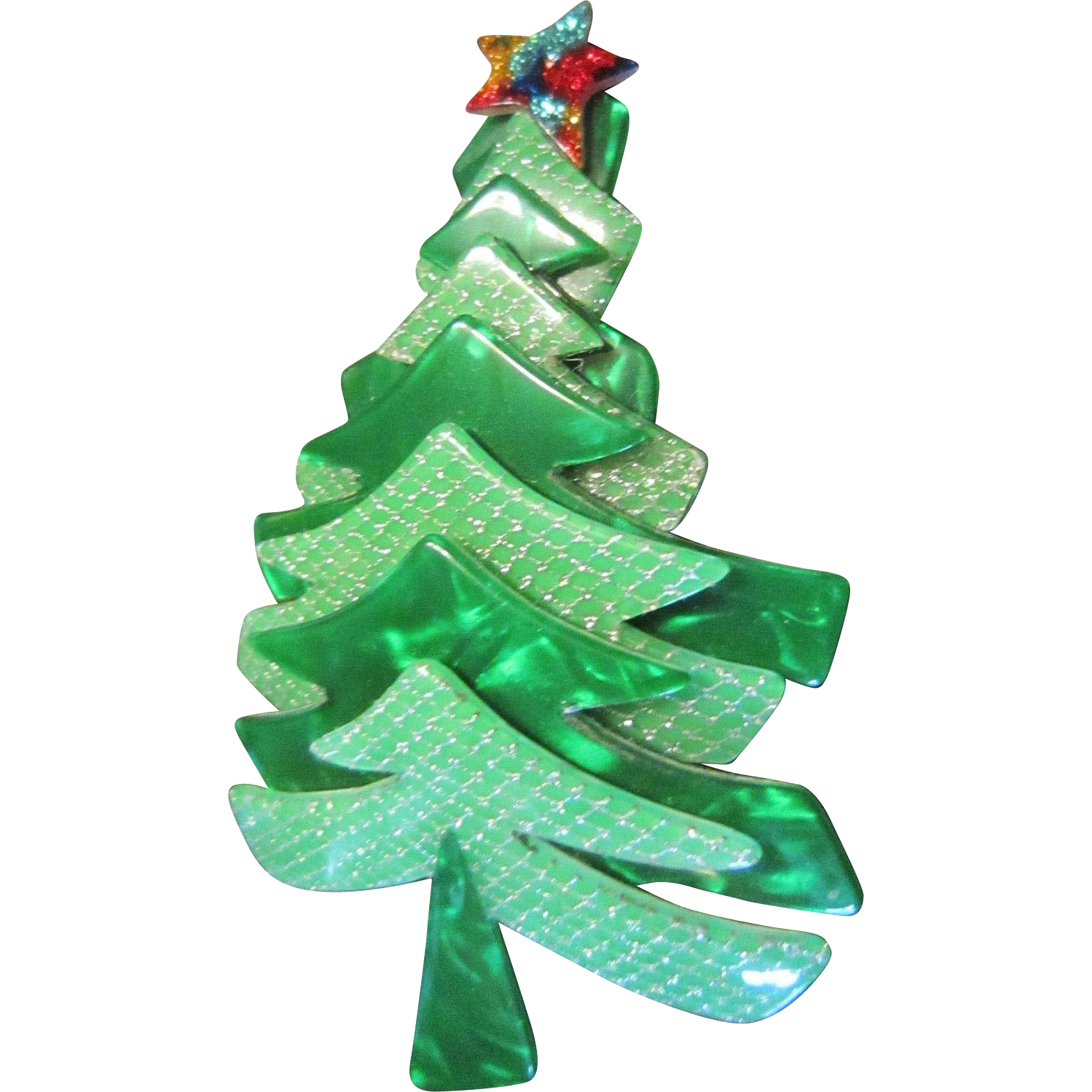 Lea Stein Green Christmas Tree Brooch in Galalith