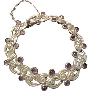 Margot de Taxco Sterling and Amethyst Bracelet - 5113