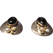 Sterling and Vermeil Earrings with Onyx