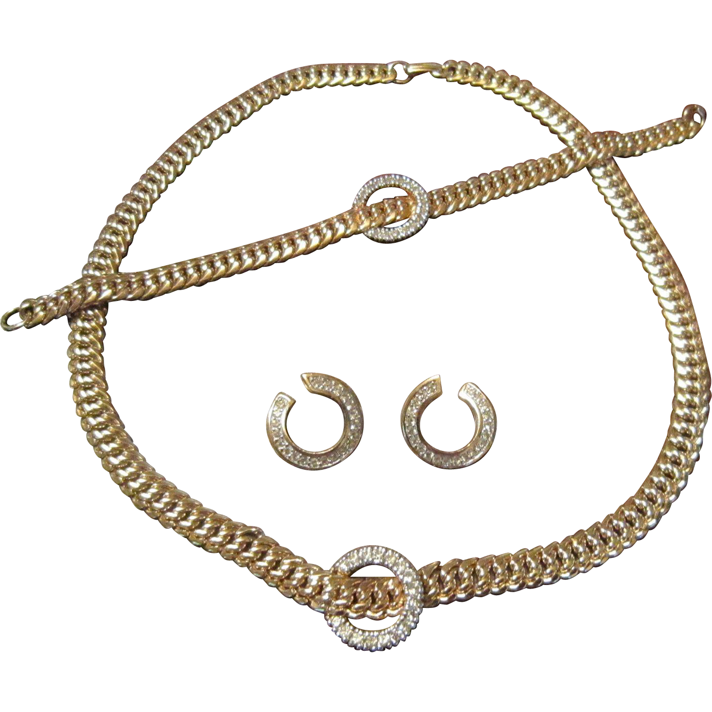 Panetta Gold Plated Necklace, Bracelet and Earrings with Clear Rhinestone Circles