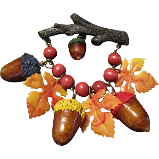 Celluloid Autumn Brooch with Acorns and Leaves