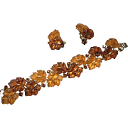 Lisner Autumn Leaves in Brown and Orange Lucite and Silver Tone