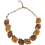 Lisner Necklace: Lucite Amber and Brown Leaves, Raspberry Rhinestones and Silver Tone