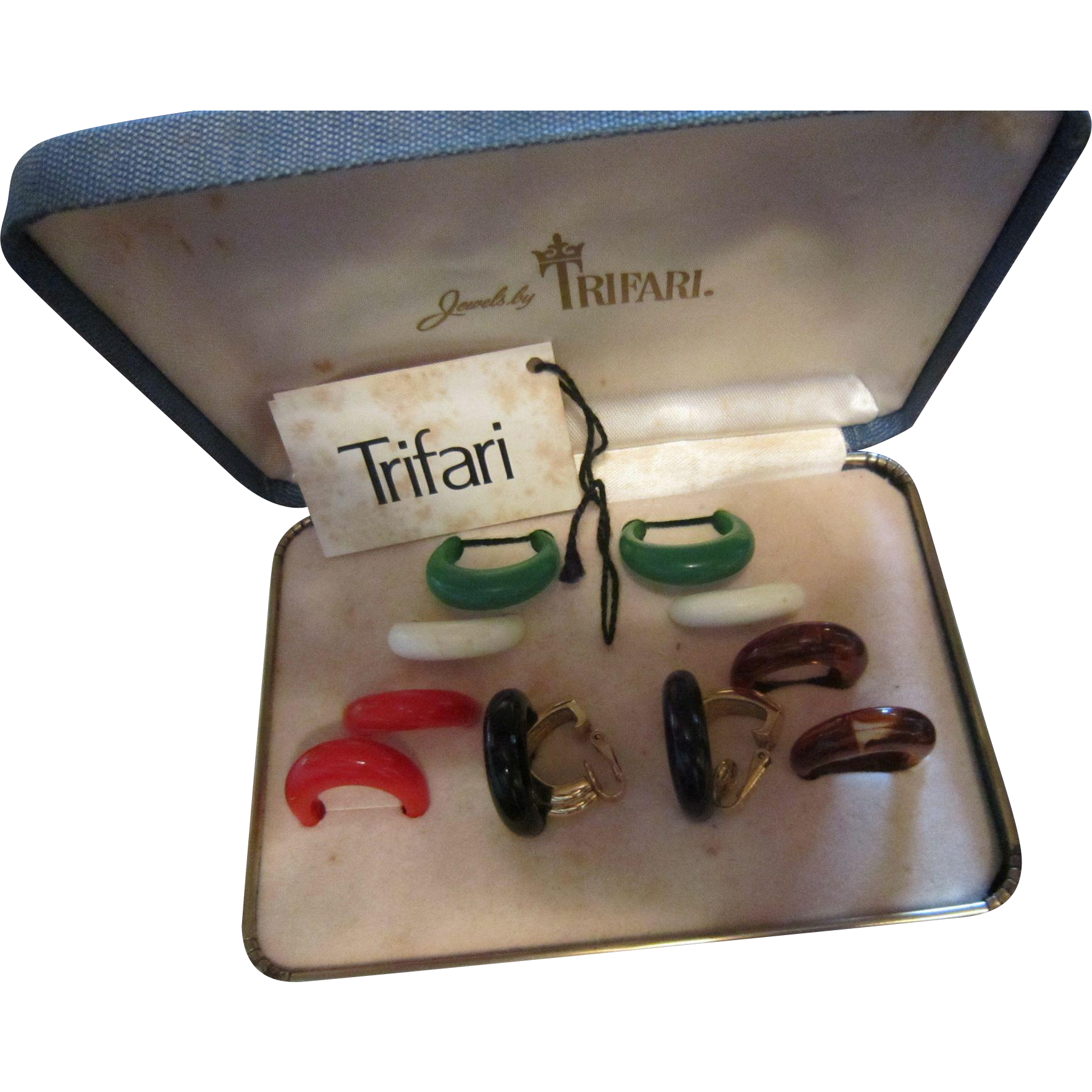 Trifari Set of One Pair of Gold Clips and Five Pairs of Dangles