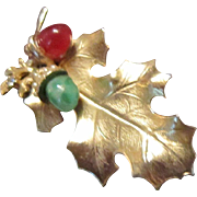 Matte Gold Tone Oak Leaf with a Carnelian and a Chrysoprase Acorns