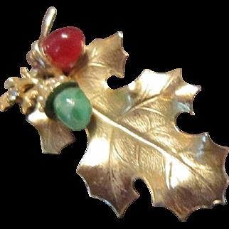 Matte Gold Tone Oak Leaf with a Carnelian and a Chrysoprase Acorns
